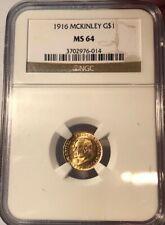 1916 MCKINLEY COMMEMORATIVE GOLD DOLLAR NGC MS-64, SEMI PL & FRESH, NICE!