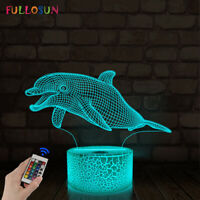 Dolphin Gifts for Kids,3D Visual Dolphin Night Light 16 Color LED Decor Lamp
