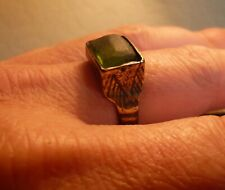 AMAZING LATE MEDIEVAL DECORATED RING WITH GREEN GLASS STONE-METAL DETECTING FIND