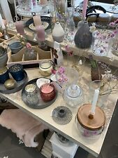 Deko Paket Landhaus Shabby Chic Kerzenständer 10 x Teelicht Vase Trockenblumen