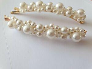 2 perl Flower long Diamante Barrette Bobby Pins Hair Clip Slide Grip  Wedding