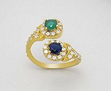 19mm 18K Yellow Gold Plated Ring sz9 with CZ, Blue Sapphire, & Green Onyx 3.6g