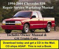 Chevrolet S10 Factory Service Shop Repair Manual plus Owner's Manual 1994-2004