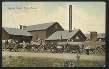Postcard Texas/TX  Cotton Gin Factory/Plant w/Horse Drawn Wagons view 1907