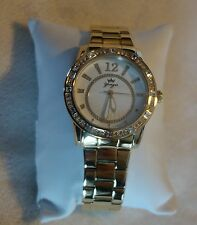 Yonger and Bresson Round Gold IP Steel Crystal watch NEW