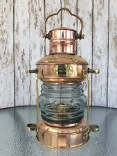 Brass & Copper Anchor Oil Lamp Nautical Maritime Ship Lantern Boat Light