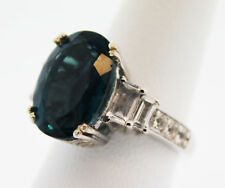 Item #51 Belgian Teal Fluorite (Oval 7.50 Ct.) White Topaz Ring, Size 5, Platinu