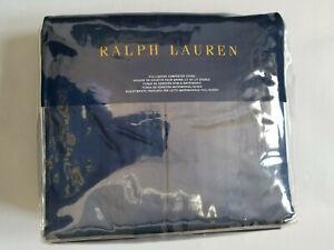 RALPH LAUREN RL 624 SOLID SATEEN POLO NAVY ONE FULL/QUEEN COMFORTER COVER