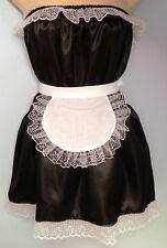 Black satin dress + apron  rocky horror fancy dress french maid  36-52 new