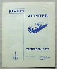 JOWETT JUPITER Car Technical Data Brochure Jan 1952