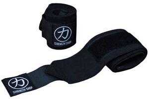 """Strength Shop Thor Wrist Wraps -12"""" 24"""" 32"""" 30cm 60cm 80cm- IPF APPROVED - Black"""