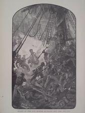 Fight between USS Bon Homme Richard and the Britsh War Ship Serapis 1880 Print