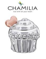 En muy buena condición chamilia 925 de plata y swarovski chapado en oro rosa el amor es dulce Cupcake encanto grano