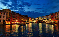"""VENICE AT NIGHT A3 CANVAS GICLEE ART PRINT POSTER 16.5"""" x 11.1"""""""