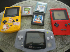 LOT 3 consoles GAME BOY COLOR Advance et 3 jeux GBA POKEMON KIRBY TOONS Nintendo