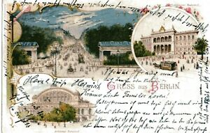AK Gruss aus Berlin Lithographie 3 Bild lebhaft Tram gelaufen 1902 farbig