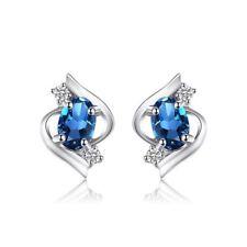 London Blue Topaz Stud Natural Fine Earrings