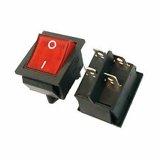 1 x 32mm 4 Pin DPST ON/OFF Boat Car Rocker Switch KCD4-201N Red Button