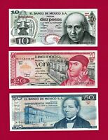 3 Beautiful Mexio UNC Notes: 10 Pesos (P-63), 20 Pesos (P-64), & 50 Pesos (-P73)