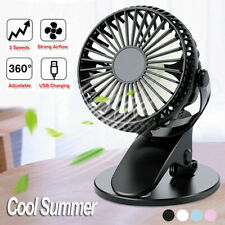 Portable Fan USB Rechargeable Cooling Clip On Desk Baby Stroller 3 Speeds Mini