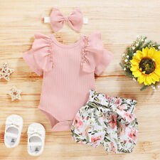 Newborn Baby Girl 3PC Clothes Floral T Shirt Tops Shorts Headband Outfits Sets