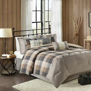 7pc Rustic Brown & Black Buffalo Plaid Comforter Set AND Decorative Pillows