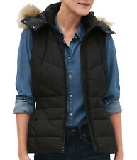 Banana Republic Women's Faux Fur Hood Puffer Vest, Black, Sz Large, 7606-3