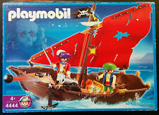 Playmobil 4444 Pirate Boat Mast Sail Chest Dingy Parrot Set Box Parts Used