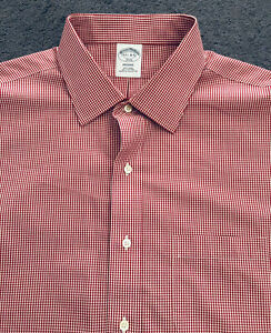 NWOT Mens BROOKS BROTHERS REGENT Button Up Non Iron Pocket Dress Shirt 17.5-4/5