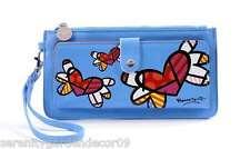 Romero Britto Blue Clutch Wristlet Wallet #333340 Flying Hearts NEW