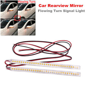 2PCS Car Rearview Mirror Mount 32 LED Strip Light Flowing Turn Signal Lamp Amber