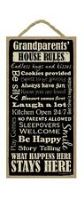 """GRANDPARENTS' HOUSE RULES Primitive Wood Hanging Sign 5"""" x 10"""""""
