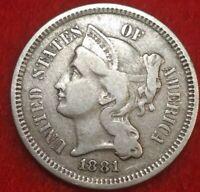 1881 Better Grades Philadelphia Mint Three Cent Nickel #55gec