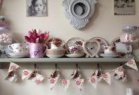 Wooden Bunting Decorated With Emma Bridgewater paper, Rose and Bee 🐝