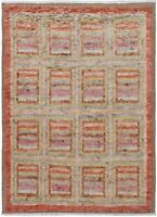 Geometric Panels Modern 7'x10' Moroccan Area Rug Hand-Knotted Living Room Carpet