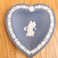 Wedgwood Jasperware Dark Blue Heart Plate Angel
