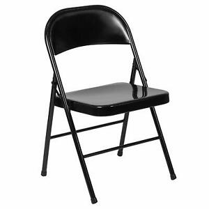 Flash Furniture HERCULES Series Double Braced Black Metal Folding Chair New