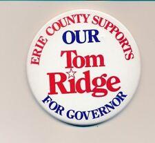 """1994 Tom Ridge for governor 3 1/2"""" cello Pennsylvania PA campaign button"""