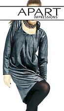 NEU WOW! DESIGNER KLEID in SAMT OPTIK BALLON FORM 36 APART 119€ silber *387446