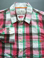 JACK WILLS CHECKED SHIRT WOMEN'S 8 WHITE PINK BROWN GREEN COTTON Vtg # LSHY534