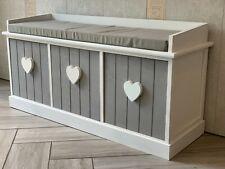 Grey White Vintage 3 Seater Hallway Bedroom Storage Bench Cushion 3 Drawers Wood