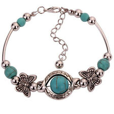 Fashion Women Tibet Silver Bracelet Turquoise Inlay Butterfly Bead Bangle Adjust