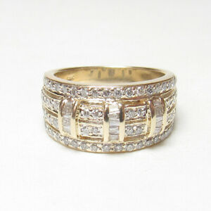 Estate 14K Yellow Gold Baguette And Brilliant Cut Diamond Cluster Ring 1.00 Ct