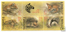 Russia 1989 Animal Marten Squirrel Hare Hedgehog Badgert Sc#B152 Block/6 MNH