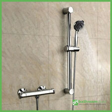Thermostatic Round Bathroom Bar Shower Valve Mixer & Slide Rail Kit Chrome Brass