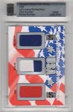 2010 Famous Fabrics USA Hockey Brett Hull Mike Richter Pat LaFontaine #5/9
