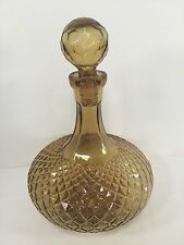 "Vintage Glass Genie Bottle Decanter Diamond Optic Pattern Amber 12 1/4"" T"