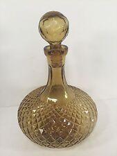 "Vintage Glass Genie Bottle Decanter Diamond Optic Pattern Amber 12 1/4"" T"