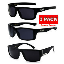 3 Pair MEN SQUARE Dark Lens GANGSTER BLACK Sunglasses LOCS BIKER GLASSES Shades