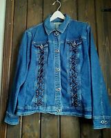 Country Door Denim Womens Sz 1X Denim Jacket Lace-up Embellished Button Up